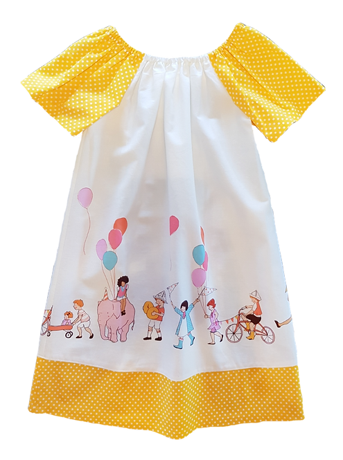 Party Parade Yellow Peasant Dress