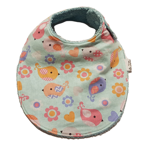 Blue Birds & Flowers Bib