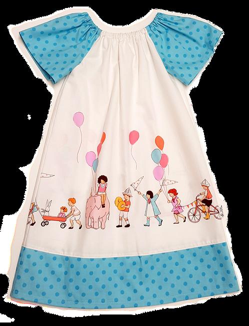 Party Parade Blue  Peasant Dress