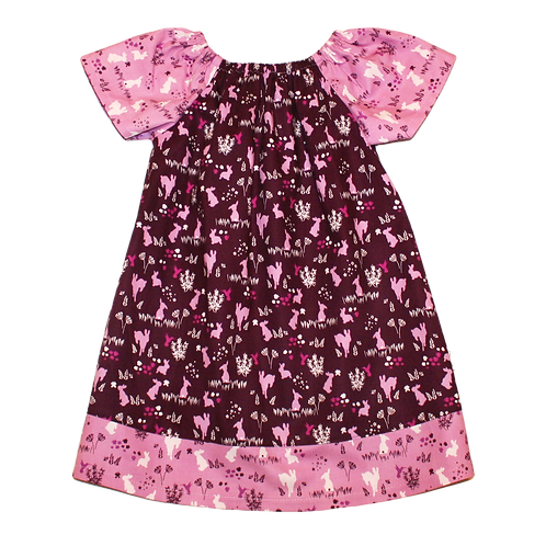 Aubergine Bunnies Peasant Dress