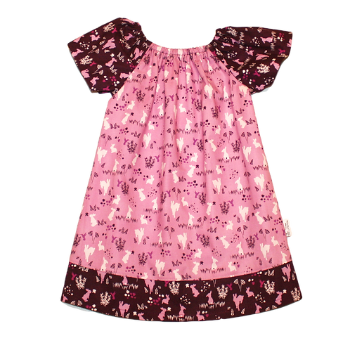 Pink Bunnies Peasant Dress