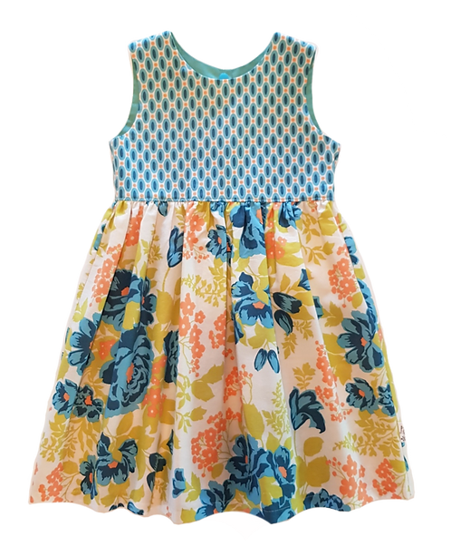 Lt Teal Floral Pixie Dress