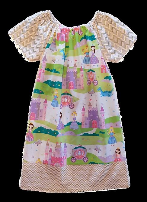 Princesses Zigzag border Peasant Dress