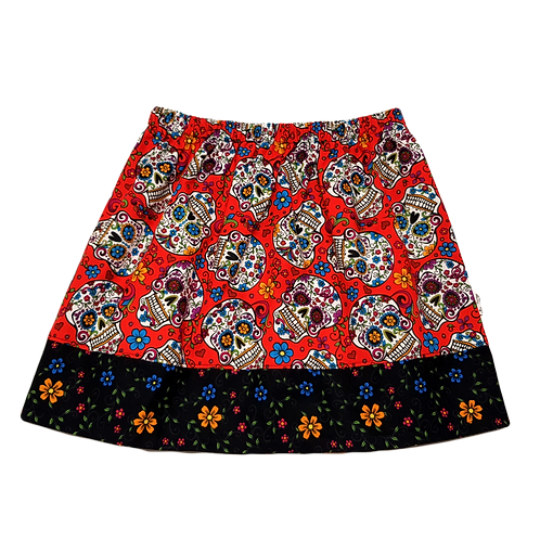 Red Sugar Skulls Skirt