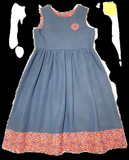 Red & Cornflower Blue Daisies Pixie II Dress