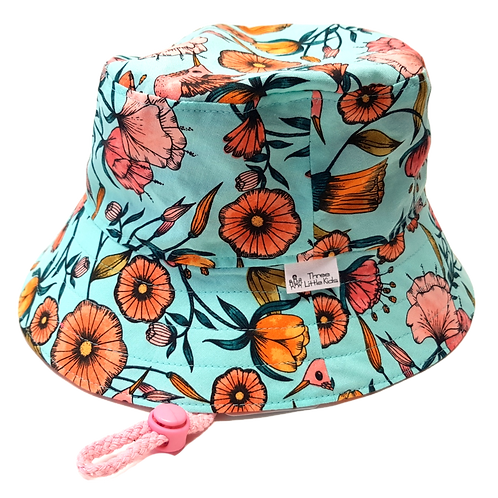Aqua/Orange Floral Sunhat