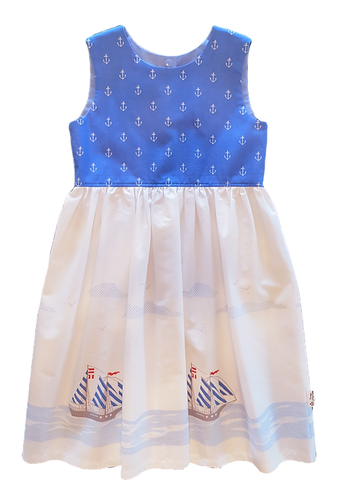 Blue Sailing Ships Pixie Dress