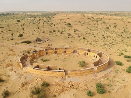 Progress of the construction on             The GYAAN Center in Jaisalmer India!