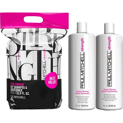 Super Strong Daily Shampoo and Conditioner Liter Duo