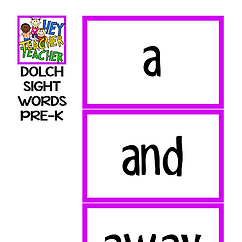 FOCUS BOARD MATERIALS - DOLCH WORDS - PRE K