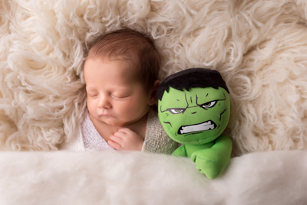 newborn boy photography with incredible hulk