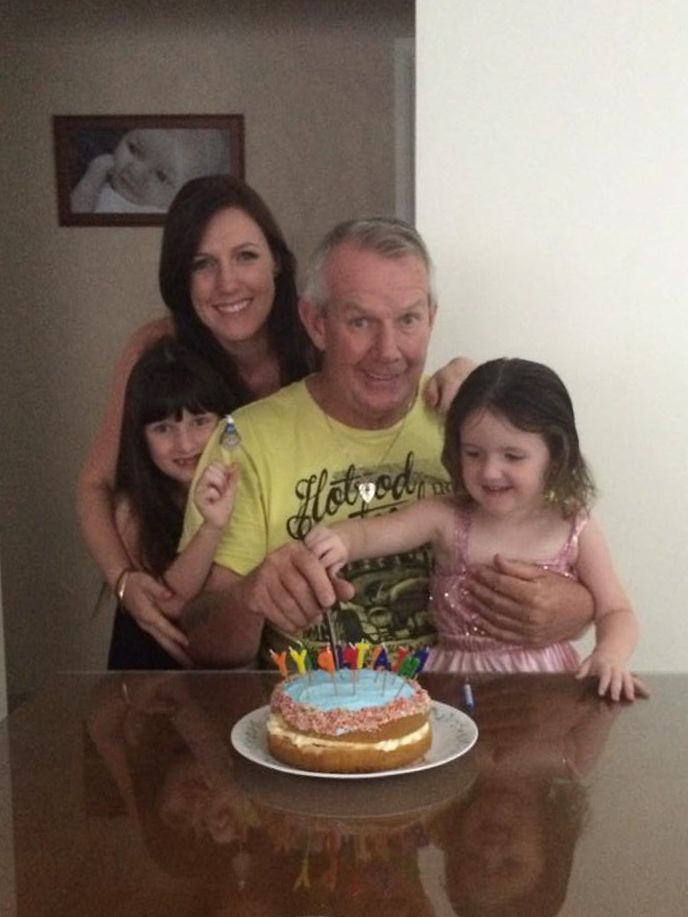 Poppy with his girls on his birthday