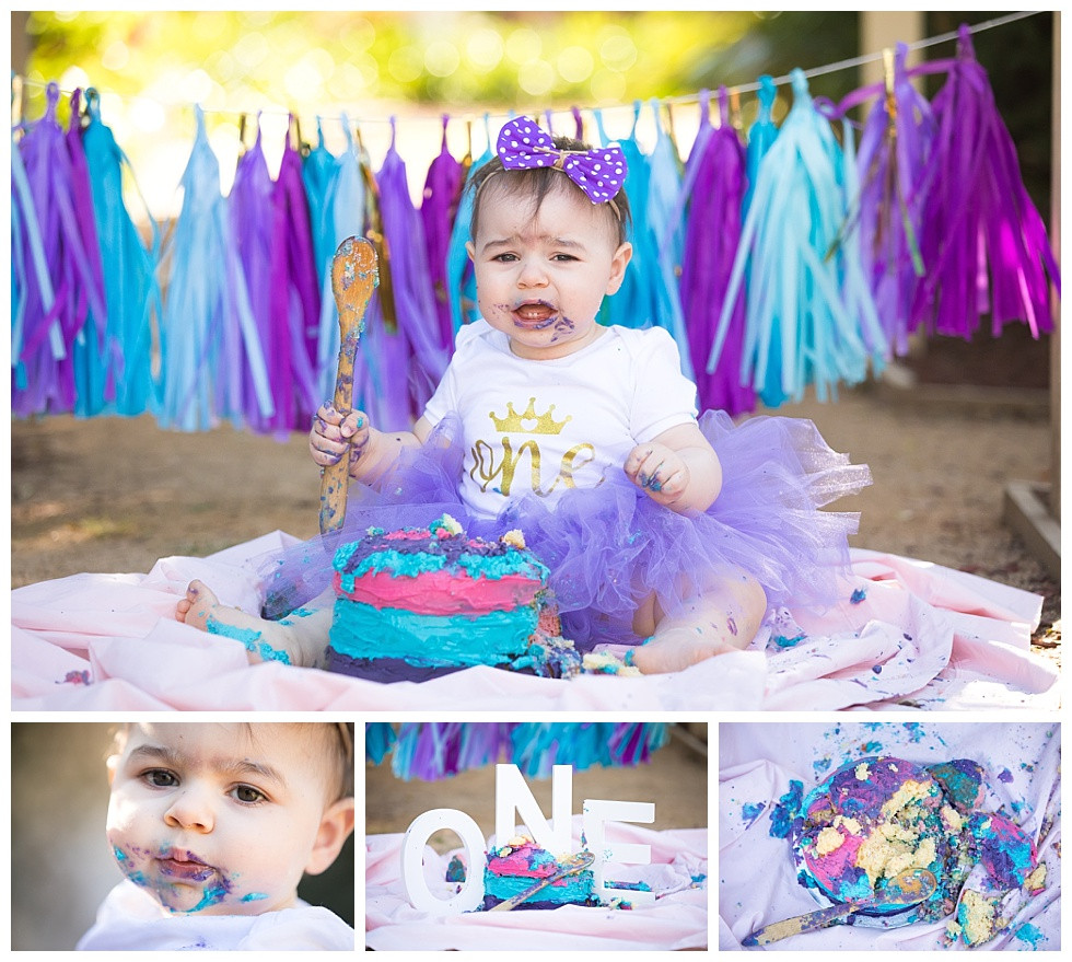 girl one year birthday cake smash outside samantha bryce photography