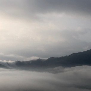 Fog rolling over the hills in Pokhara