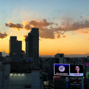 Sunset in Shibuya (with Mount Fuji in the background)
