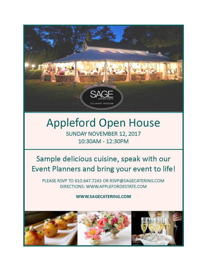 SAGE CATERED EVENTS                       BRIDAL OPEN HOUSE DATES