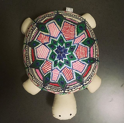 hand-painted stuffed turtle