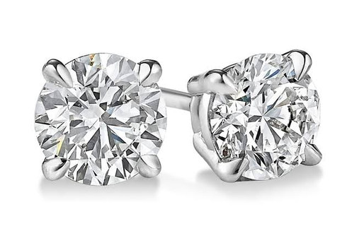 b25418396 4-Prong Basket set diamond stud earrings make a stylish statement in  beauty. These 14k white gold stud earrings sparkle with a total weight of 1.00  ct. of ...