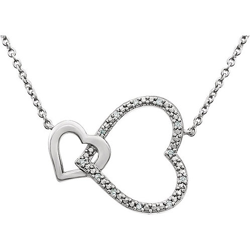 Sterling Silver Diamond Interlocking Heart Pendant