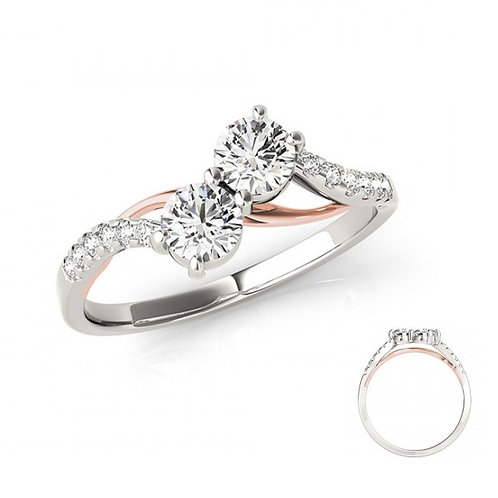 Diamond 2 Stone Ring White & Rose Gold