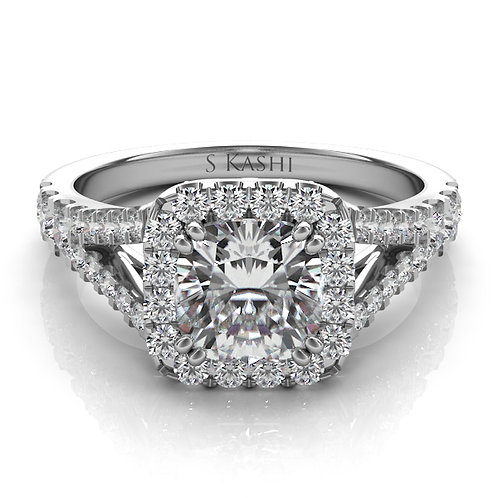 0.90 ctw. WHITE GOLD PAVE ENGAGEMENT RING