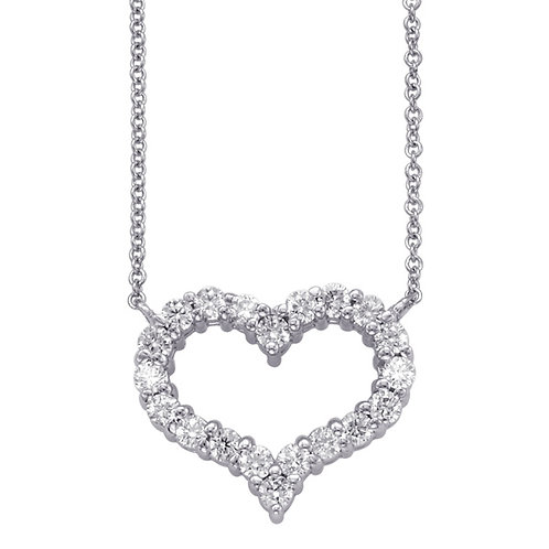 14KT White Gold Diamond Heart