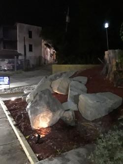 boulders at night