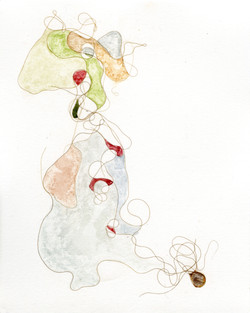 Hair Drawing 2, 2019 Hair and watercolor on paper