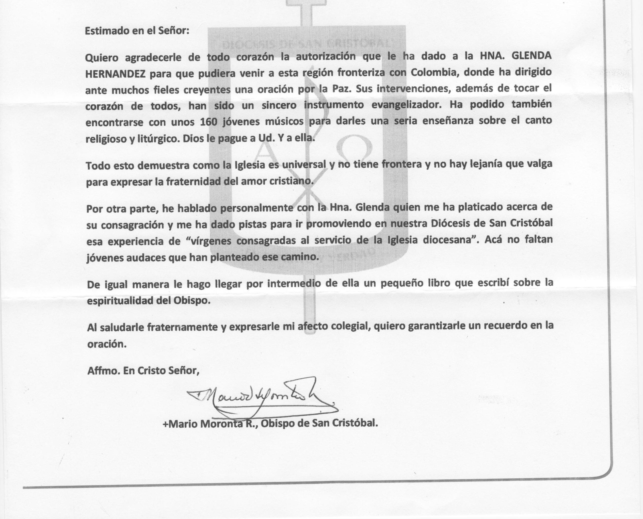 OBISPO DE SAN CRISTOBAL, VENEZUELA