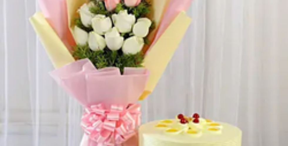 Pink & White Roses Bouquet with Butterscotch Cake