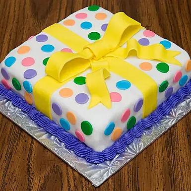 Polka Dots Gift Wrap Fondant Cake
