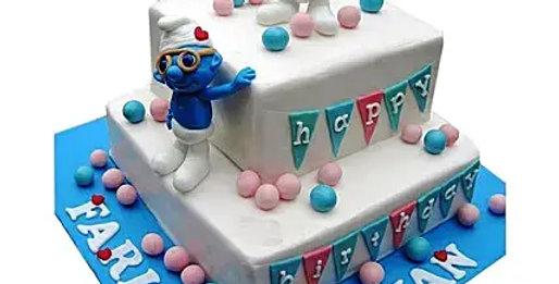 2 Tier Smurfs Birthday Cake