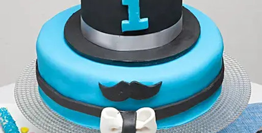 Hat and Moustache Fondant Cake