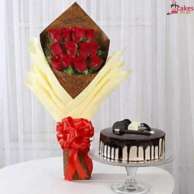 Alluring Combo of Red Roses Bouquet with Chocolate Cake