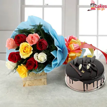Colorful Roses with Chocolate Cake