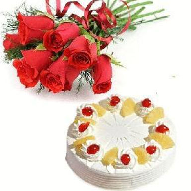 The Red Rose Bouquet and Pineapple Vanilla Cake Combo