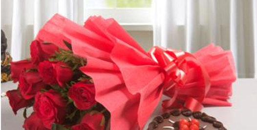 The Red Roses and Chocolate Cake Bundle