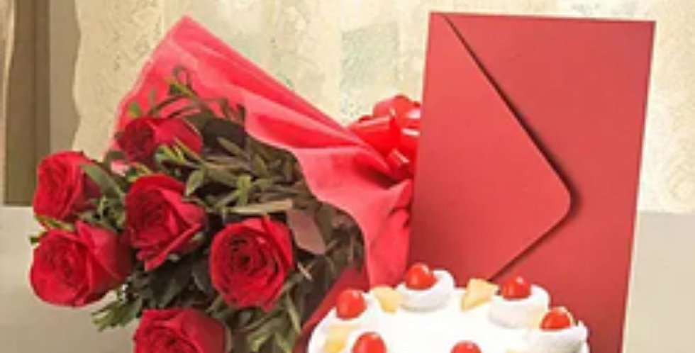 Red Roses with Pineapple cake and Greeting Card Combo
