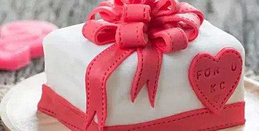 Pink Gift Wrap Fondant Cake