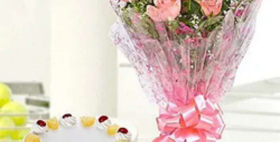 Pink Roses Bouquet with Pineapple Cake Combo