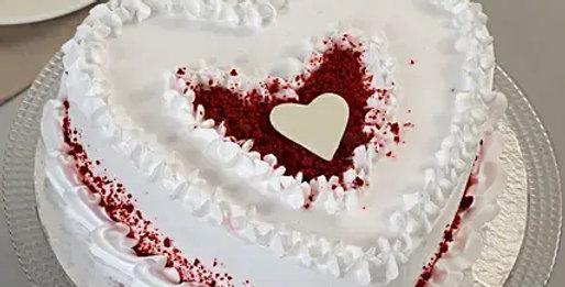 Red Velvet Heart Cream Cake