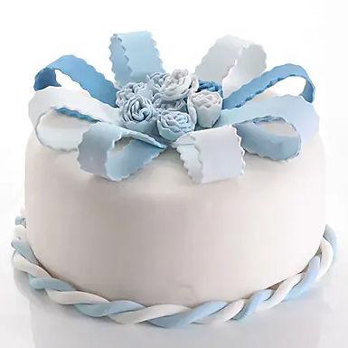 Blue and White Fondant Cake