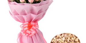 The Pink Rose Bouquet and Assorted Nuts Set