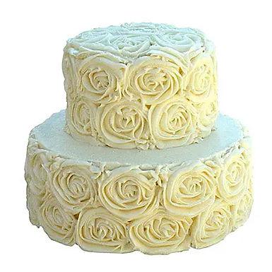 2 Tier White Rose Chocolate Cake