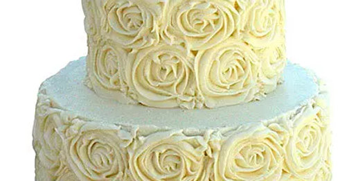 2 Tier White Rose Chocolate Cake
