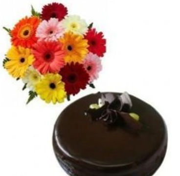 The Gerbera Daisies and Chocolate Cake Combo