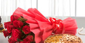Red Rose Bouquet with Assorted Nuts Basket