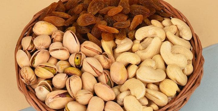 Basket of Raisins, Pistachios and Cashews