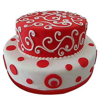 2 Tier White and Red Cake