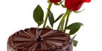 The Chocolate Cake and Red Rose Trio Combo